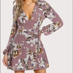 SHEIN Mauve Floral Print Long Sleeve Wrap Dress